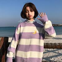 冬季新款韩版小清新糖果色条纹套头针织衫上衣宽松长袖毛衣女学生
