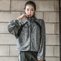 运动外套女套装休闲夜跑步开衫上衣宽松速干长袖茄克瑜伽健身房服