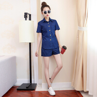 夏季女装牛仔套装两件套韩版宽松短袖外套大码阔腿短裤学生上衣潮