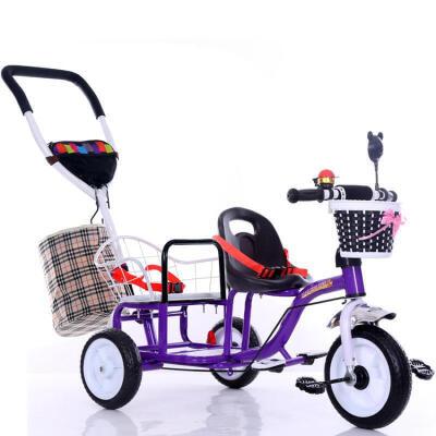 双胞胎童车婴儿推车双人三轮车宝宝脚踏车儿童三轮车自行车1-6岁 浅紫色 发泡轮送后筐 偏远地区发货受限制,具体地区请咨询在线客服