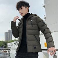 棉衣男冬季潮韩版2018新款修身保暖中长款连帽羽绒棉袄棉服外套