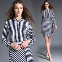 欧美时尚条纹职业女装连衣裙秋季新款长袖修身显瘦中长裙 OL