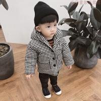 男童棉衣2018冬装男宝宝格子棉袄外套女保暖外衣婴儿加厚羽绒 黑色