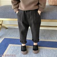 男童冬装裤2018新款秋冬季哈伦宝宝毛呢裤子儿童加厚小童宝宝长裤 黑色