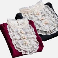 冬装蕾丝半高领加绒加厚女式长袖修身打底娃娃领毛衣色保暖上衣