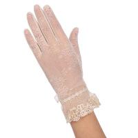 蕾丝手套女春秋夏季开车骑车防滑防晒防紫外线短款触摸屏手套 米白色 03C(米色)