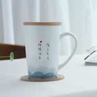 水杯杯子马克杯陶瓷大容量情侣杯咖啡杯带盖勺子创意简约陶瓷杯