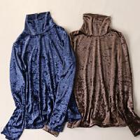 金丝绒 冬装新款女装简约半高领修身显瘦长袖学生T恤KY6284