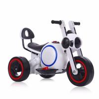 儿童电动摩托车男女小孩三轮车1-5宝宝太空狗充电玩具车可坐摩托 白色
