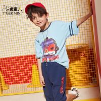 【3件2折:65.8元】小虎宝儿男童短袖套装纯棉潮2021夏款中大童洋气韩版运动两件套