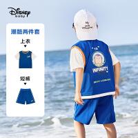 【4折券后价:74.7元】迪士尼童装男童夏装套装儿童夏季衣服宝宝运动短袖2021新款潮时髦