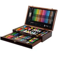 儿童绘画套装画画工具小学生水彩笔画笔美术文具学习用品礼物 130件抽屉木盒套装