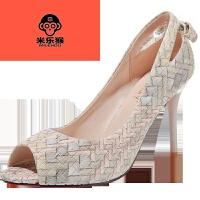 米乐猴 休闲鞋 2017夏季新款细高跟鱼嘴休闲凉鞋