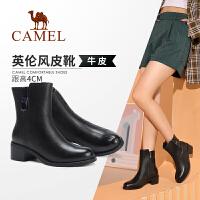 Camel/骆驼女鞋 2019冬季新款鞋粗跟中筒靴简约真皮保暖女靴子
