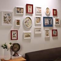 地中海风格实木照片墙木质相框挂墙北欧简约客厅背景装饰