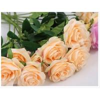 假花单支玫瑰花束仿真婚庆家居客厅摆件摆设绢布大花餐桌插花道具