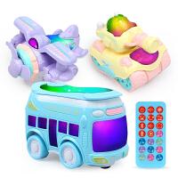 小汽车玩具车男女孩儿童早教音乐巴士玩具车模型宝宝玩具万向车子