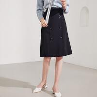 【两件2折价:109.6】2021年春装新款女装时尚双排扣气质腰带高腰中长半身裙女