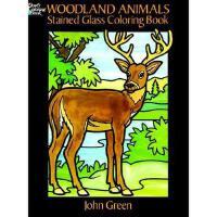 【预订】Woodland Animals Stained Glass Coloring Book