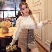 秋冬季女装韩版半高领木耳荷叶边套头上衣+高腰单排扣半身裙套装 杏色上衣+卡其裙子