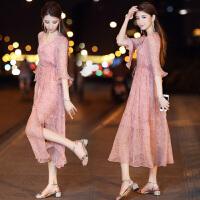 安妮纯女士秋装2019新款韩版V领超仙雪纺连衣裙两件套长裙波西米亚裙子