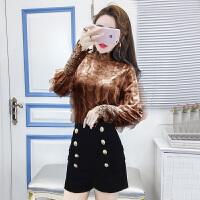 冬季新款韩版时尚高领网纱蕾丝打底衫百搭高腰双排扣短裤