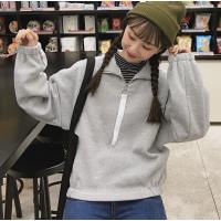 卫衣女秋冬韩版学院风宽松小高领加绒加厚上衣拉链设计感开衫外套