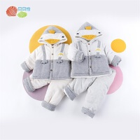 贝贝怡男女宝宝洋气套装冬装新款儿童加厚保暖连帽外套休闲裤194T437