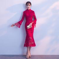鱼尾晚礼服裙2018新款秋季蕾丝长袖旗袍年会修身女中式结婚敬酒服 酒红色