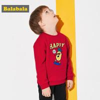 巴拉巴拉童装儿童春秋2018新款圆领套头衫男童小童宝宝休闲卫衣潮