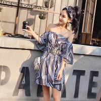 2018夏季时尚小香风新款荷叶袖几何印花抹胸连衣裙 配腰带 送发饰