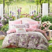 百丽丝家纺 水星出品 全棉亲肤简约双人床单被套四件套温莎