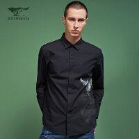 七匹狼旗下圣沃斯系列秋季新品青年男士时尚潮流印花长袖休闲衬衫
