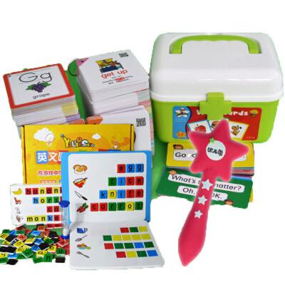 英语单词卡片幼儿启蒙中英文字母闪卡儿童早教教具点读笔有声小学 ++拼词桌游 品质保证