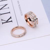 欧美饰品镀18k玫瑰金双排满钻韩版时尚食指戒指女指环钛钢首饰