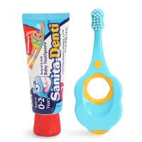 Sanita-Denti莎卡婴幼儿牙刷牙膏口腔护理套装0-2岁宝宝防蛀固齿
