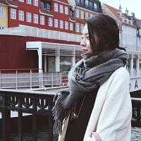 慈姑围巾女冬季毛线韩版格子女针织围脖百搭秋冬保暖超长围巾披肩两用