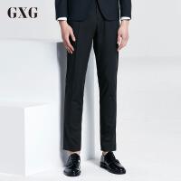 GXG西裤男装 秋季男士韩版休闲裤长时尚潮流修身藏青色裤子男西裤
