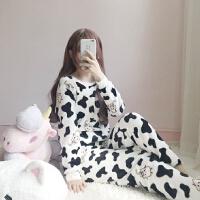 冬季女装韩版甜美可爱珊瑚绒睡衣家居服学生长袖长裤两件套套装潮