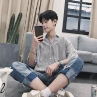 文艺男士短袖衬衫夏季修身韩版小清新竖条纹五分袖衬衣服男装