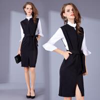 气质修身包臀名媛套装女两件套连衣裙春秋款新款时尚潮职业装