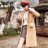 【两件5折后价944.5】Lagogo/拉谷谷2018冬季新款日系软妹连帽呢大衣HCDD23XA56