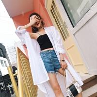 2018春夏新款女装棉麻长袖宽松中长款白衬衫女bf韩范防晒衬衣外搭 白色
