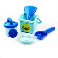 儿童沙滩玩具套装宝宝玩沙子铲子沙漏沙滩车挖沙套装玩沙工具 蓝色小鸭5件套