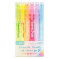 晨光文具可擦荧光笔6色双头学生标记笔记号笔AHM25804