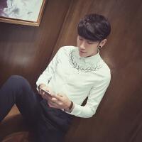 暖男 四季款衬衫 修身纯色刺绣款男士长袖衬衣纯色英伦发型师韩国