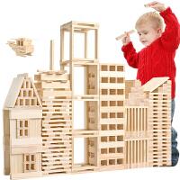 建构木制模型配对棒建筑层层叠 3岁以上积木玩具 100片建筑棒