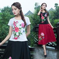 中国风绣花打底衫 夏季新款 绣花女装民族风短袖T恤 刺绣上衣
