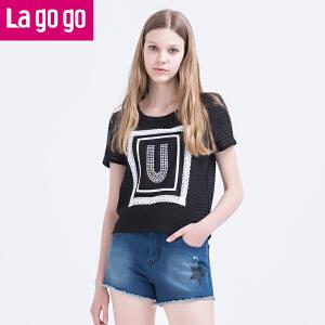 Lagogo夏季新款黑色圆领贴片印花休闲T恤短袖上衣女宽松短款百搭