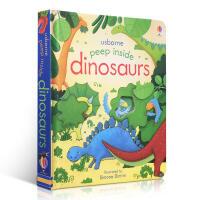 英文原版 Usborne Peep Inside Dinosaurs 偷偷看里面系列 恐龙 洞洞书 科普纸板翻翻书 低